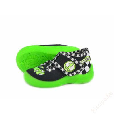 Táncsics vászon gyerekcipő - fekete/zöld